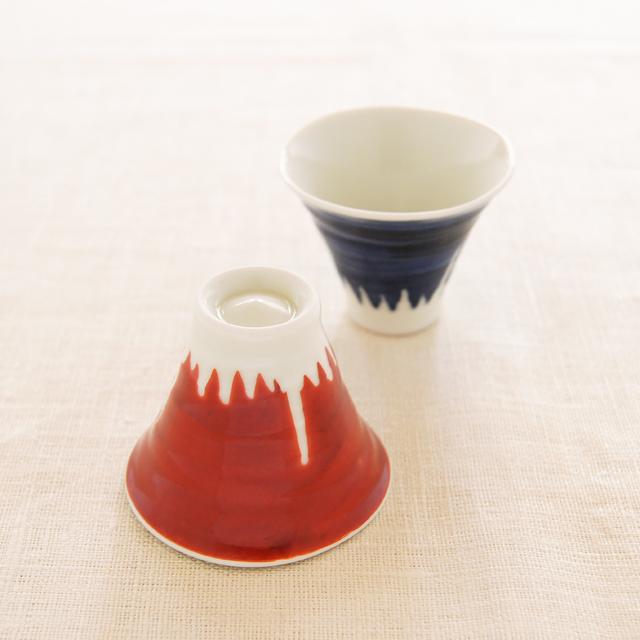 【和食器通販 金照堂】陶房青 富士山ペアぐい呑み