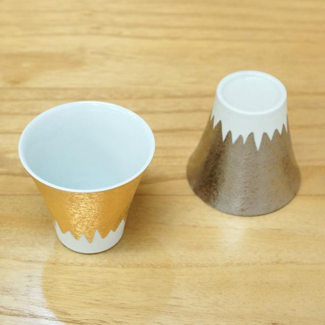 【和食器通販 金照堂】富士山 カップペア(金銀彩)