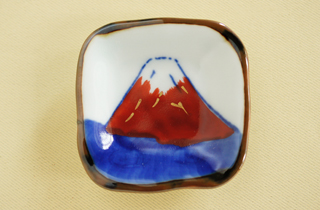 和食器通販 金照堂 赤富士 角箸置(皿立付)